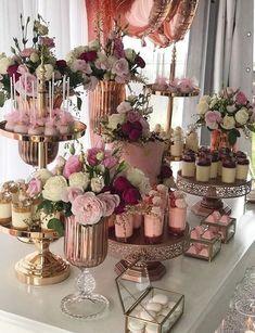Dessert Table Set Up Wedding ; Dessert Table Set Up - bridal shower decorations Wedding Desserts, Wedding Cakes, Wedding Decorations, Elegant Desserts, Easy Desserts, Cake Table Decorations, Wedding Gifts, 30th Birthday Decorations, Pink Desserts