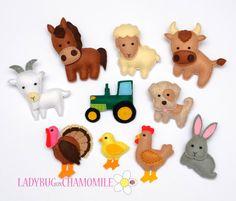 Felt Farm Animals part2  fridge magnets  by LadybugOnChamomile, $89.99