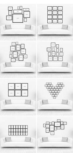 Verschiedene Ideen für eine kreative Fotowand