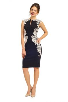 Paper Dolls - Eva Black and Cream Crochet Lace Pencil Dress