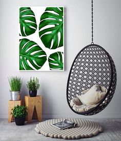 Botanical Print | Green Wall Art | Tropical Decor | Monstera Art Print | Jungalow Style | Monstera Leaf | Jungle Interior | Tropical Wall Art. Art Prints by Little Ink Empire