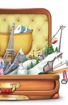 Travel Agency Illustration by Victor Bivol, via Behance