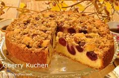 This Cherry Kuchen recipe layers sweet dark cherries on a simple coffeecake batter and topped with a crunchy streusel. Baking Recipes, Cake Recipes, Dessert Recipes, Meal Recipes, Cherry Kuchen Recipe, German Coffee Cake, German Cake, Cherry Cake, Sweet Cherries