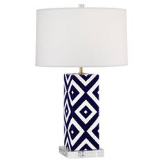 navy and white lamp from Mary McDonald
