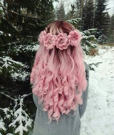 "50.5k Likes, 649 Comments - behindthechair.com (@behindthechair_com) on Instagram: ""* Winter Bloom ... ❄️by @myhairstyle_xo #btcmyhairstyle_xo #behindthechair ・・・ #pinkhair…"""