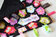 Baby Taggie Blanket Owls on Black Minky, via Etsy.