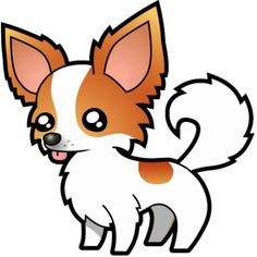 cute Chihuahua cartoons | Cartoon Chihuahua (red parti long coat) Photo Sculpture