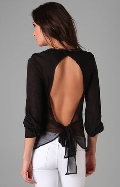 Sexy backless black chiffon top with white jeans.