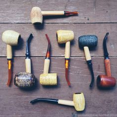 Missouri Meerschaum corn cob pipes plus a 'Rock Cob'.