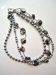 Three Strands Grey Freshwater Pearl Necklace by BijouxEmmElle, $41.00