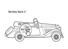 Super car Bentley Mark 5 coloring page for kids, printable free