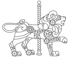 Steampunk Coloring Pages for Adults - Bing Images Animal Coloring Pages, Coloring Book Pages, Printable Coloring Pages, Coloring Sheets, Types Of Embroidery, Embroidery Patterns, Zentangle, Steampunk Design, Steampunk Patterns