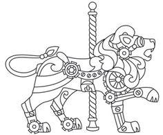 Steampunk Carousel - Lion