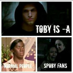 Especially on pll. Still love spoby. Pll Quotes, Pll Memes, Movie Quotes, Pretty Little Liars Meme, Best Tv Shows, Best Shows Ever, Pll Frases, Freelee The Banana Girl, Pll Logic