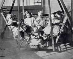 """Couldn't resist this picture of the East End Day Nursery from around 1900! Founded in 1892, in a building shared with the Sackville Street Mission, it was one of only two daycare centres in the city. Its goal was to prevent social problems: """"We come to the aid of people who, perhaps, might become paupers and possibly their children criminals"""".   More info: Howe & Prochner. Early Childhood Care and Education in Canada. UBC Press, 2000."""