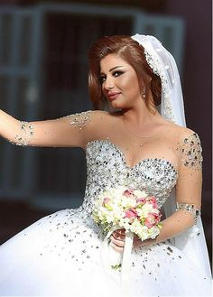Wedding Dresses Ball Gown, Luxurious Tulle Jewel Neckline Ball Gown Wedding Dress With Rhinestones MagBridal Sexy Wedding Dresses, Wedding Dresses Plus Size, Designer Wedding Dresses, Wedding Gowns, Tulle Wedding, Bridal Dresses Online, Bridal Gowns, Ball Dresses, Ball Gowns