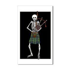 Bagpiper Skeleton Sticker (Rectangle) by Rattlebrained - CafePress Bagpipe Music, Skull And Bones, White Vinyl, Pipes, Skeleton, Custom Stickers, Humor, Celtic, Print Design