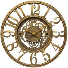 Dot & Bo Golden Sprocket Wall Clock ($20) ❤ liked on Polyvore featuring home, home decor, clocks, backgrounds, filler, steampunk wall clock, gear wall clock, steampunk home decor, steam punk clock and steampunk clock
