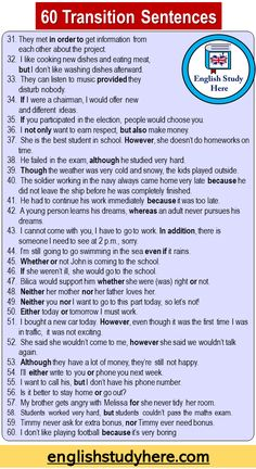 English Sentences, English Phrases, Learn English Words, English Study, English Grammar, Transition Sentences, Transition Words And Phrases, English Transition Words, English Learning Spoken