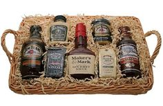 Hit the Sauce Gourmet Grilling Gift Assortment of gourmet liquor sauces and more Maker's Mark Gourmet Sauce, Jim Beam Barbecue Sauce Jack Daniels Mustard, Budweiser Barbecue Sauce Gourmet liquor-flavored coffees Assembled in a large-handled gift basket Bbq Gifts, Grilling Gifts, Food Gifts, Gourmet Gift Baskets, Wine Baskets, Barbecue Sauce, Bbq Sauces, Gourmet Recipes, Gift Ideas