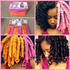 """Curlformers! This is my no-heat, no-damage curl routine! Gel in wet hair, curlers in (curlers come in pink and orange so you use one color on one side, so the curls are perfect, curling away from your face). Put close to the scalp for """"natural curls"""" or halfway down the head for the waves-that-end-in-curls look that is popular. Then in the morning run your fingers thru go!"""
