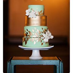 "Wedding on Instagram: ""Loving this beautiful mint green and gold leaf cake by @artisancakes_"""