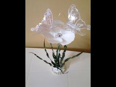 Best Out Of Waste Plastic transformed to delicate flower with butterflie...