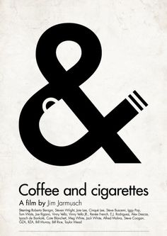 Coffee and Cigarettes - Graphic Design Typographic / Negative space Poster Logo Design, Design Art, Print Design, Web Design, Type Design, Art Print, Typography Poster, Graphic Design Typography, Graphic Design Illustration