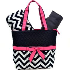 Personalized pink/white/black chevron Daiper by sewsassybootique, $29.95