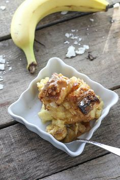 Coconut Banana Bread Pudding - FoodBabbles.com
