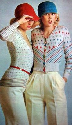 Dorothée Bis 1970s pants trousers knit top sweater candy stripes red blue white cream print ad models magazine hat