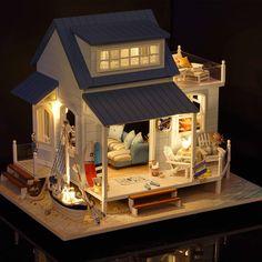 Wooden-Dollhouse-Miniatures-DIY-Beach-Cottage-Kit-w-Light-Caribbean-Beach-House