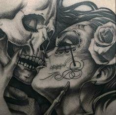 Skull couple tattoo, couple tattoos, skull tattoos, new tatt Dope Tattoos, Bild Tattoos, Badass Tattoos, Great Tattoos, Beautiful Tattoos, Body Art Tattoos, Sleeve Tattoos, Tattos, Skull Couple Tattoo