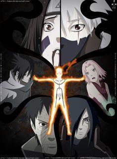 Kakashi, Sakura, Madara, Obito, Sasuke, Rin and Naruto