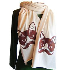 Moustache Kitty Scarf, $30, now featured on Fab. Like a sir!