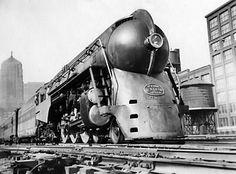 Steam locomotive streamlined locomotives, streamliner aerodynamic locomotive railroad retro art deco futuristic train trains