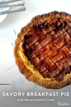 The ultimate breakfast recipe: Savory Breakfast Pie with Bacon Lattice Crust via @PureWow