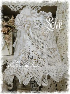 Re-furbished Vintage Lace Lampshade by: Rebecca Nelson ~ beautiful ~❥