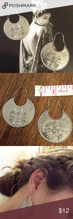 Half Moon 🌙 Gypsy Etched Flower a power Earrings Light weight medallions. Not real silver yet hip and funky. Boho necessity. Dots. Roses. Fauna. Coins. Match a lot of outfits. No tarnishing. Good condition. Urban Outfitters Jewelry Earrings