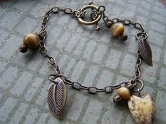 Antique Brass Mocha Heart Bracelet by autumnraincreations on Etsy, $16.00