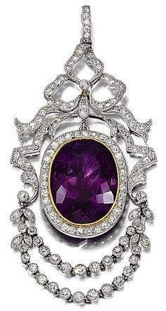AMETHYST AND DIAMOND PENDANT, CIRCA 1910. Amethyst, ribbon design surmount and swags millegrain-set with single and rose-cut diamonds, fitted case, Hancocks & Co, 1 Burlington Arcade, London, W1X 1LD.