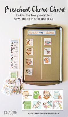 DIY Chore Charts - Preschool Appropriate Children's Chore Chart System, Printables and Tutorial via Key Lime