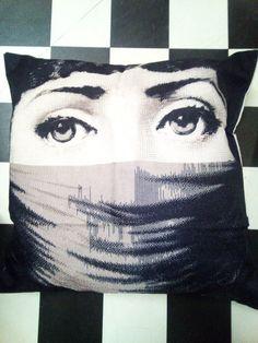 Fornasetti Styled Soft Furnishings Muslim Lady Cushion
