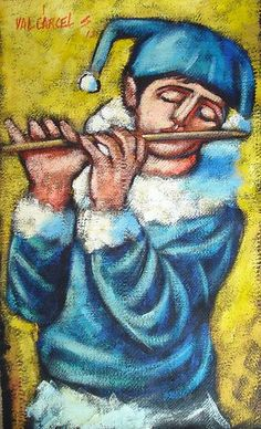 Harlequin playing flute - Available for purchase on eBay - 40% discount from gallery value . . . .