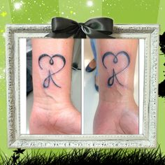 Heart tattoo with letter A