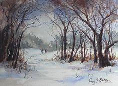 Skiing in Snowy Fields by Poppy Balser Watercolor ~ 10 x 14