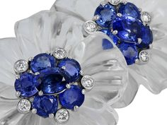 Crystal Sapphire Diamond Gold Floral Earrings   From a unique collection of vintage lever-back earrings at https://www.1stdibs.com/jewelry/earrings/lever-back-earrings/