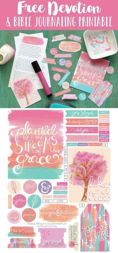 Get inspired to journal in your Bible with this FREE printable devotion and coordinating printable journaling goodies! This one day devotion written by Jennifer Hayes Yates is sized to fit a traveler's notebook, and the printable journaling goodies designed by Bethany Lee include journaling cards with hand-lettered sayings, watercolor art, and lots of tabs, circles, and tiny words.