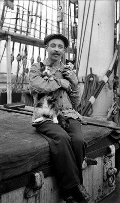 Seaman with a cat and kitten, ca. 1910 - Samuel J Hood Studio