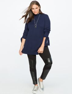 Tie Sleeve Tunic Sweater with Slits   Women's Plus Size Tops   ELOQUII